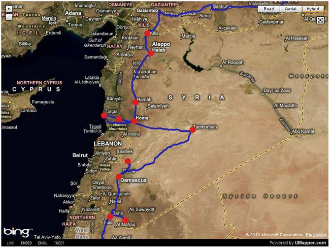 Маршрут путешествия по Сирии